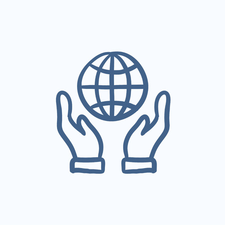 hands holding globe: Two hands holding globe vector sketch icon isolated on background. Hand drawn Two hands holding globe icon. Two hands holding globe sketch icon for infographic, website or app.