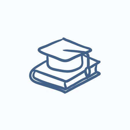 Graduation cap laying on book vector sketch icon isolated on background. Hand drawn Graduation cap laying on book icon. Graduation cap laying on book sketch icon for infographic, website or app. Stock Illustratie
