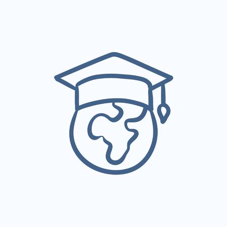 卒業キャップ ベクター スケッチ アイコンの背景に分離のグローブ。手は、卒業の帽子アイコンの世界を描いた。卒業の帽子にグローブは、インフ