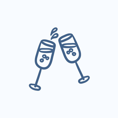 champaign: Two glasses of champaign vector sketch icon isolated on background. Hand drawn Two glasses of champaign icon. Two glasses of champaign sketch icon for infographic, website or app.