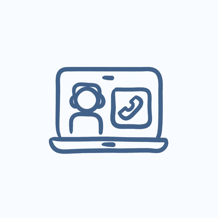 reciever: Online education vector sketch icon isolated on background. Hand drawn Online education icon. Online education sketch icon for infographic, website or app.