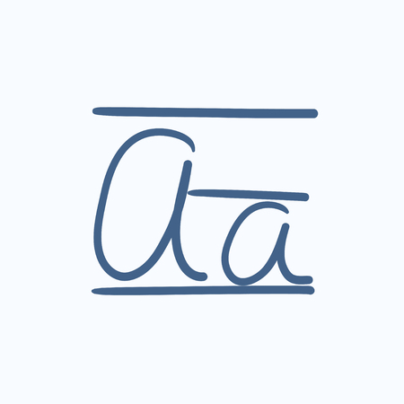 lexicon: Cursive letter a vector sketch icon isolated on background. Hand drawn Cursive letter a icon. Cursive letter a sketch icon for infographic, website or app.