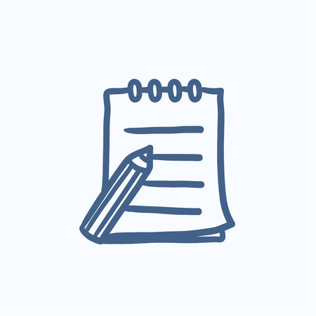 hand writing: Writing pad and pen vector sketch icon isolated on background. Hand drawn Writing pad and pen icon. Writing pad and pen sketch icon for infographic, website or app.