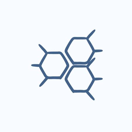 symbole chimique: Formule chimique vecteur croquis icône isolé sur fond. Hand drawn Formule chimique icône. Formule chimique icône esquisse pour infographie, site Web ou application.
