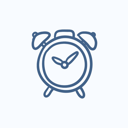 Alarm clock vector sketch icon isolated on background. Hand drawn Alarm clock icon. Alarm clock sketch icon for infographic, website or app.  イラスト・ベクター素材