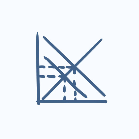 ordinate: Mathematical graph vector sketch icon isolated on background. Hand drawn Mathematical graph icon. Mathematical graph sketch icon for infographic, website or app.