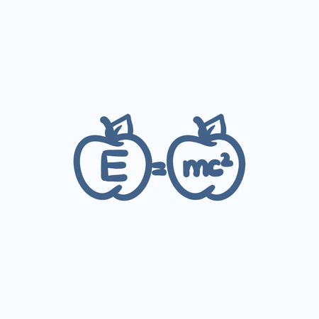 formulae: Two apples with formulae vector sketch icon isolated on background. Hand drawn Two apples with formulae icon. Two apples with formulae sketch icon for infographic, website or app.
