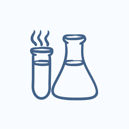 laboratory equipment: Laboratory equipment vector sketch icon isolated on background. Hand drawn Laboratory equipment icon. Laboratory equipment sketch icon for infographic, website or app. Illustration
