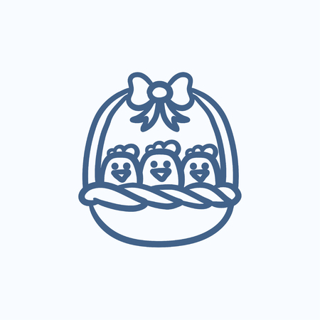 gift basket: Basket full of easter chicks vector sketch icon isolated on background. Hand drawn Basket full of easter chicks icon. Basket full of easter chicks sketch icon for infographic, website or app. Illustration