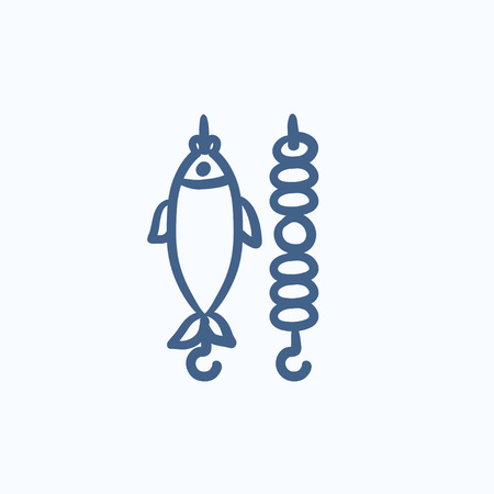 Shish kebab and grilled fish vector sketch icon isolated on background. Hand drawn Shish kebab and grilled fish icon. Shish kebab and grilled fish sketch icon for infographic, website or app. Ilustração