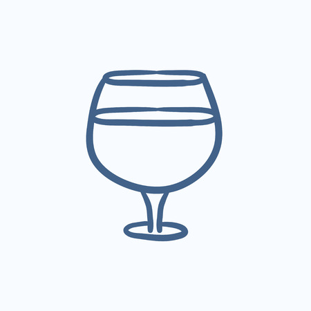 brandy: Glass of wine vector sketch icon isolated on background. Hand drawn Glass of wine icon. Glass of wine sketch icon for infographic, website or app.