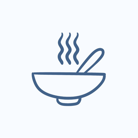 broth: Bowl of hot soup with spoon vector sketch icon isolated on background. Hand drawn Bowl of hot soup with spoon icon. Bowl of hot soup with spoon sketch icon for infographic, website or app. Illustration