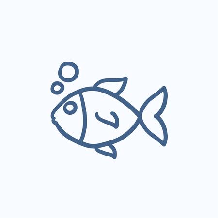 Petit poisson sous l'eau vecteur croquis icône isolé sur fond. Hand drawn Petit poisson sous l'icône de l'eau. Petit poisson sous l'eau icône esquisse pour infographie, site Web ou application.