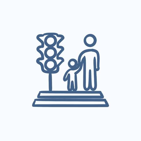 union familiar: icono de los padres y de la calle que cruza niño dibujo vectorial aislado en el fondo. dibujado a mano de Padres y el icono de cruzar la calle niño. icono de la calle y el cruce de los padres del niño para la infografía, sitio web o aplicación. Vectores