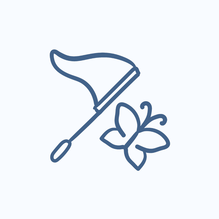 papillon dessin: Papillon et net icône vecteur d'esquisse isolé sur fond. Tirée par la main papillon et l'icône net. Papillon et icône de croquis net pour infographie, site Web ou application.