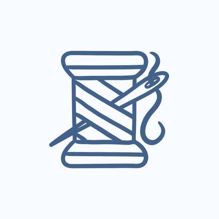 실과 바늘 벡터 스케치 아이콘의 스풀 배경에 고립입니다. 손 실과 바늘 아이콘의 스풀을 그려. 인포 그래픽, 웹 사이트 또는 앱 실과 바늘 스케치 아이