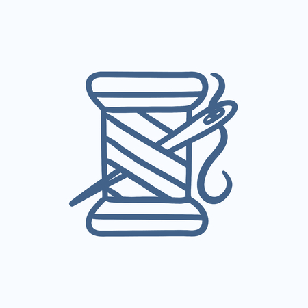 Spool of thread and needle vector sketch icon isolated on background. Hand drawn Spool of thread and needle icon. Spool of thread and needle sketch icon for infographic, website or app.