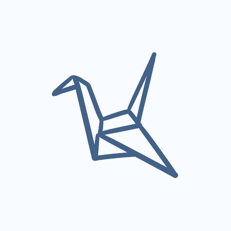 Origami bird vector sketch icon isolated on background. Hand drawn Origami bird icon. Origami bird sketch icon for infographic, website or app. Vettoriali