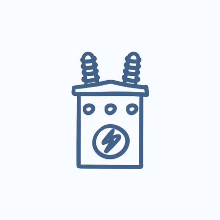 transformer: High voltage transformer vector sketch icon isolated on background. Hand drawn High voltage transformer icon. High voltage transformer sketch icon for infographic, website or app. Illustration