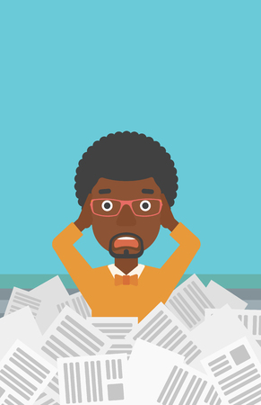 tired cartoon: A stressed african-american man clutching his head because of having a lot of work to do with a heap of newspapers in front of him vector flat design illustration. Vertical layout.