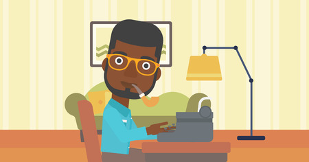 article writing: An african-american reporter writing an article on typewriter and smoking pipe on the background of living room vector flat design illustration. Horizontal layout.