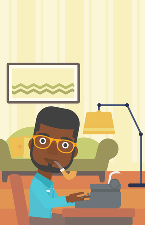 article writing: An african-american reporter writing an article on typewriter and smoking pipe on the background of living room vector flat design illustration. Vertical layout.