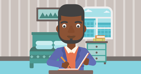 pen writing: An african-american man sitting at the table and writing an article in writing-pad on the background of bedroom vector flat design illustration. Horizontal layout. Illustration
