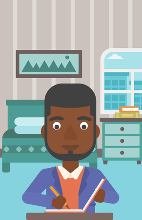 article: An african-american man sitting at the table and writing an article in writing-pad on the background of bedroom vector flat design illustration. Vertical layout.