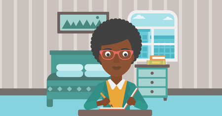article: An african-american reporter sitting at the table and writing an article in writing-pad on the background of bedroom vector flat design illustration. Horizontal layout. Illustration