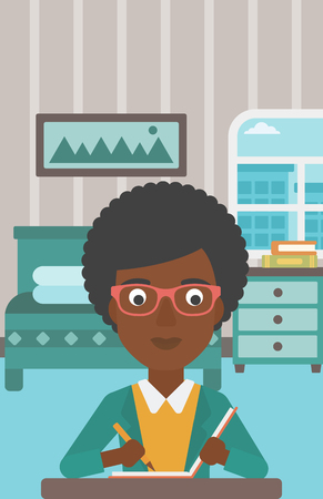 An african-american reporter sitting at the table and writing an article in writing-pad on the background of bedroom vector flat design illustration. Vertical layout. Illustration