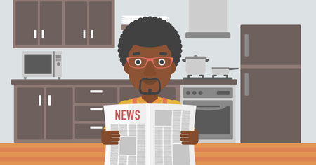 An african-american man reading the newspaper on the background of kitchen vector flat design illustration. Horizontal layout.