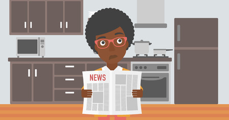 An african-american woman reading the newspaper on the background of kitchen vector flat design illustration. Horizontal layout. Illustration
