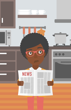 woman black background: An african-american woman reading the newspaper on the background of kitchen vector flat design illustration. Vertical layout.