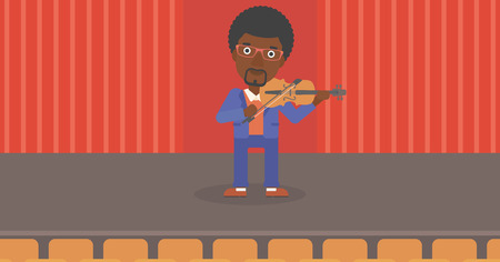 cellist: An african-american man  playing violin on the stage vector flat design illustration. Horizontal layout.
