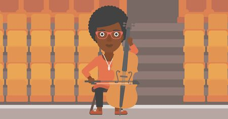 theater seats: An african-american woman playing cello on the background of empty theater seats vector flat design illustration. Horizontal layout. Illustration