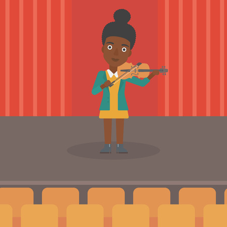woman violin: An african-american woman playing violin on the stage vector flat design illustration. Square layout. Illustration