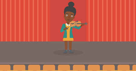 An african-american woman playing violin on the stage vector flat design illustration. Horizontal layout. Ilustrace