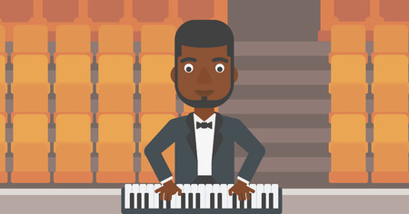 theater man: An african-american man playing piano on the background of empty theater seats vector flat design illustration. Horizontal layout.