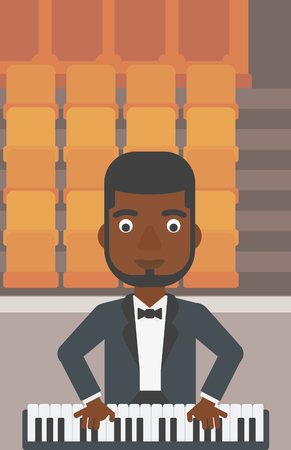 theater man: An african-american man playing piano on the background of empty theater seats vector flat design illustration. Vertical layout. Illustration
