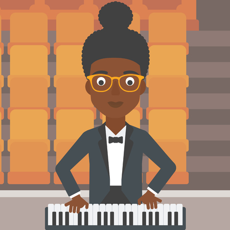 theater seats: An african-american woman playing piano on the background of empty theater seats vector flat design illustration. Square layout.