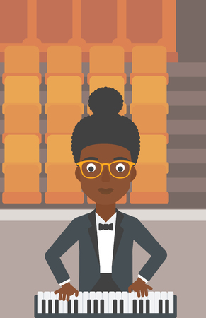 theater seats: An african-american woman playing piano on the background of empty theater seats vector flat design illustration. Vertical layout.