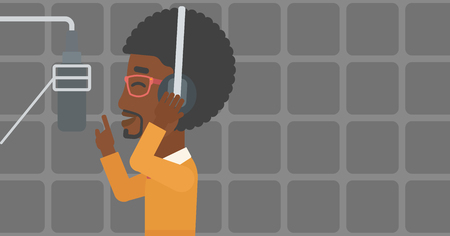 An african-american man in headphones making a record of his voice in studio vector flat design illustration. Horizontal layout.