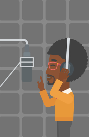 headset voice: An african-american man in headphones making a record of his voice in studio vector flat design illustration. Vertical layout.
