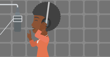vocalist: An african-american woman in headphones making a record of her voice in studio vector flat design illustration. Horizontal layout.