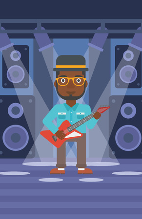 singer on stage: An african-american man playing electric guitar on the stage with spotlights vector flat design illustration. Vertical layout.