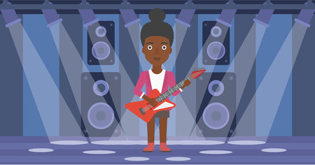 fret: An african-american woman playing electric guitar on the stage with spotlights vector flat design illustration. Horizontal layout. Illustration