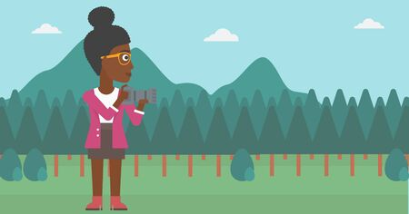 taking photo: An african-american woman taking photo on the background of green forest and mountains vector flat design illustration. Horizontal layout. Illustration