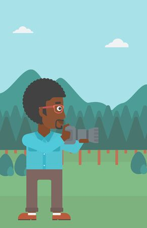 taking photo: An african-american man taking photo on the background of green forest and mountains vector flat design illustration. Vertical layout. Illustration
