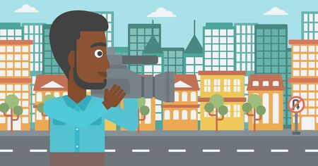 cinematograph: An african-american cameraman with video camera taking a video on a city background vector flat design illustration. Horizontal layout.