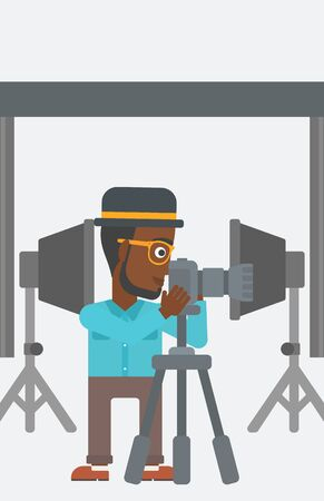 lighting equipment: An african-american photographer working with camera on the background of photo studio with lighting equipment vector flat design illustration. Vertical layout.